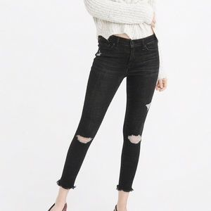 A&F Low Rise Distressed Ankle Jeans